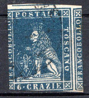 "TOSCANE - (Grand Duché) - 1857 - N° 15 - 6 Cr. Bleu - (""Marzocco"" Lion Héraldique) - Toscana"