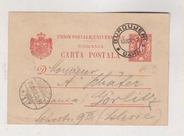 ROMANIA BURDUJENI 1902 Postal Stationery To Germany - Cartas