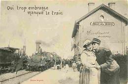 Trains - Gare De Fouilly Les Becots - Qui Embrasse Trop Manque Le Train - Gare - Animée - CPA - Voir Scans Recto-Verso - Stations With Trains