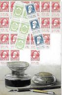 BELGIQUE BELGIE - Représentation Timbres - Encrier écriture Plume - 1907 - Carte Gaufrée - Timbre - Stamps (pictures)