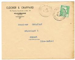 DAGUIN DOUBLE VILLEURBANNE CITE LAFAYETTE SUR LETTRE - Mechanical Postmarks (Other)