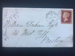 GB Victoria 1864 Cover Stafford Duplex To Preston Tied With 1d Red Star - Briefe U. Dokumente