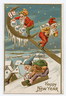 Happy New Year. Lutins. Gnomes. Neige. Luge. Dorure. Gilding. Carte Gaufrée. Embossed. - Anno Nuovo