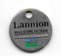 Jeton  De  Caddie  Sport  Cyclisme, VILLE  LANNION, VILLE ETAPE DU TOUR, Côtes D'Armor La Course En Tête, 2 Juillet - Jetons De Caddies