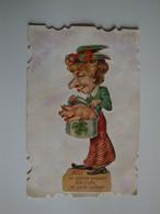 Carte Humoristique D'une Dame Qui Offre Un Porte-bonheur(un Petit Cochon) Coiffée D'un Perroquet - Otros