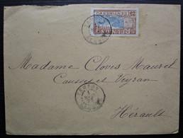 La Réunion 1923 Tampon, Lettre Affranchie Avec Un 25 Centimes, Pour Causses Et Veyran, Hérault - Lettres & Documents