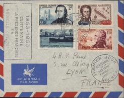 Premier Jour Centenaire De La Présence Française Nouméa 24 9 1953 + Cachet Centenaire Présence En Nouvelle Calédonie - Cartas