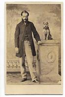S2754/ CDV Foto Mann Und Hund Terrier  Ca.1865 Fotografie - Ohne Zuordnung