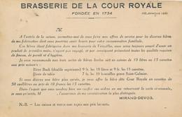 """Versailles (78 Yvelines) Brasserie De La Cour Royale """"bière Bock 9 Fr Les 10 Litres Et Genre Saint Galmier 7 Fr Les 10"""" - Versailles (Château)"""