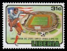 Soccer Football Liberia #1405 Stadium MNH ** 1988 - Nuovi