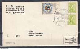 Brief Van Primer Vuelo Lufthansa Naar Rabat Maroc - Uruguay