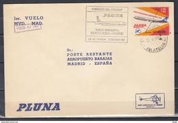 Brief Van Correos Del Uruguay Vuelo Inaugural Montevideo-Madrid Naar Madrid (Spanje) - Uruguay