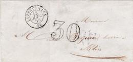 PSC De La Ferté-Macé (61) Pour Blois (41) - 18 Juillet 1856 - CAD Rond Type 15 + Ambulant - Taxe Double Trait 30 - 1849-1876: Periodo Classico