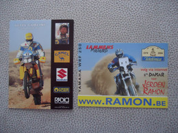 2 X Carte Postale MOTO - PARIS - DAKAR ( Beppe Gualini  - Suzuki 750 & Jeroen Ramon - Yamaha WRF 250 ) - Motorcycle Sport