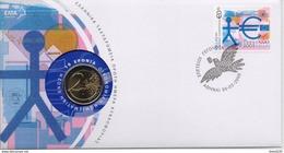 GREECE FDC COMMEMORATIVE POSTMARK WITH 2 EURO COIN/EU-30/3/09-RARE!!! - FDC