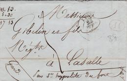 LAC De Lyon (69) Pour Lasalle (30) - 10 Septembre 1835 - CAD Rond Type 13 Saint-Hippolyte (30) - TM 4 + Cachet 1D Rouge - 1801-1848: Voorlopers XIX