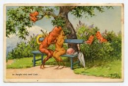 Signé Thiele Arthur. Surréalisme. Légumes ( Carottes ) Forme Humaine. Cupidon Sur La Branche. Un Baiser Sur Le Banc. - Thiele, Arthur