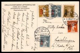 SCHWEIZ, 1932 Buntfrankatur Aufbrauchsausgaben Tellknabe - Covers & Documents