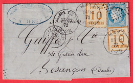 ALSACE LORRAINE MIXTE N°60 AMBULANT AVRICOURT PARIS N°5 X2 METZ MOSELLE BESANCON DOUBS - Alsace Lorraine