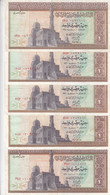 EGYPT 1 EGP 1971 P-44 SIG/ZENDO #14 LOT X5 VF NOTES - Egypt