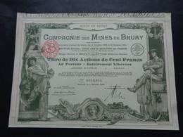 FRANCE - 62 - CIE DES MINES DE BRUAY - TITRE E 10 ACTIONS DE 100 FRS - BRUAY 1930 - Unclassified