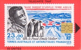 Télécarte 50U, Tirage 750, Paul Emile Victor En Antarctique (Manchots, Base DDU, ...) - TAAF - Franz. Süd- Und Antarktisgebiete