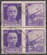 ITALIA - 1942 - Coppia Di Francobolli Di Propaganda Di Guerra Da 50 Centesimi, Usati. - Propagande De Guerre