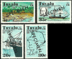 CV:€30.00 TUVALU 1977 Royal Society Expedition Charles Darwin HMS Beagle Ship Map SPECIMEN SET:4 - Tuvalu