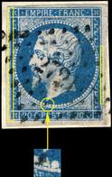 France - Yv.14A 20c Bleu T.1 - Nombreuses Cassures, Non Planché - Obl. PC 2721 (Romorantin) TB Sur Frag. (ref.04zd) - 1853-1860 Napoléon III