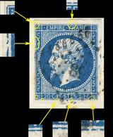 France - Yv.14A 20c Bleu T.1 - Pos. 98D2 (3ème état) - Obl. PC 89 (Annonay) TB Sur Frag. (ref.04zf) - 1853-1860 Napoléon III.