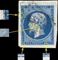 France - Yv.14A 20c Bleu T.1 - Pos. 99D2 (3ème état) - Obl. TB Sur Frag. (ref.04zh) - 1853-1860 Napoleon III