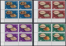 CV:€120.00 TUVALU 1980 Cowry Coneshells SPECIMEN CORNER 4-BLOCKS:4 - Tuvalu