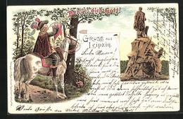 Lithographie Leipzig, Bismarckdenkmal, Berittener Trompeter Vor Der Stadt, Behüt` Dich Gott! - Leipzig