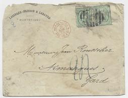 MONTEVIDEO 10CX2 LETTRE COVER MONTEVIDEO 1875 POUR FRANCE TAXE TAMPON 24 BLEUE + C. ROUGE MONTEVIDEO PAQ FR J N°4 B/TB - Portomarken