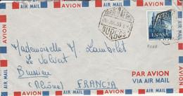 ESPAGNE SEUL SUR LETTRE POUR LA FRANCE 1955 - 1951-60 Cartas