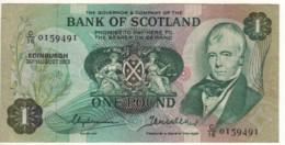 SCOTLAND  1 Pound    Bank Of Scotland  P111b   Dated 30th August, 1973  (Sir. Walter Scott+sailing Ship On Back) - 1 Pound