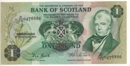 SCOTLAND  1 Pound    Bank Of Scotland  P111f   Dated 9th November, 1984  (Sir. Walter Scott+sailing Ship On Back) - 1 Pound