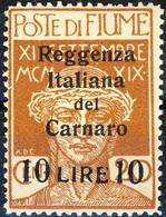 Fiume 1920 Sass. N. 146A Lire 10 Su C. 20 Ocra ***OG MNH LUX Timbro Garanzia E Firma Scotto Cat. € 6250 - Fiume