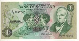 SCOTLAND  1 Pound    Bank Of Scotland  P111f   Dated 12th December, 1985  (Sir. Walter Scott+sailing Ship On Back) - 1 Pound