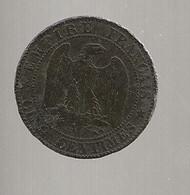 FRANCE / Monnaie Napoléon III Tête Nue 5 Cinq Centimes 1854 A / Chien Et Main /  état B. - C. 5 Centimes