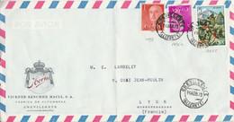 ESPAGNE AFFRANCHISSEMENT COMPOSE SUR DEVANT DE LETTRE POUR LA FRANCE 1973 - 1971-80 Cartas