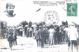 CPA VINCENNES (Val De Marne) - Circuit Européen 1911 : Arrivée De Beaumont Sur Monoplan Blériot - Vincennes