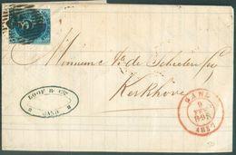 N°7 - Médaillon 20 Centimes Bleu, Obl. P.45 à 14 Barres Sur Lettre De GAND Le 9 Février 1857 Vers Kherkhove - 12003 - 1851-1857 Medallions (6/8)