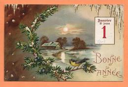 CPA BONNE ANNÉE 1er JANVIER 1908 31 JOURS - GAUFRÉ CHAUMIERE COUCHER DE SOLEIL HOUX OISEAU - Neujahr