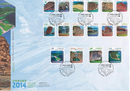 China Hong Kong 2014 Definitive Stamps FDC Landscapes Global Geopark First Day Cover - FDC