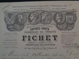 FACTURE - Dpt DE LA SEINE - PARIS 2ème - 1898 - COFFRES-FORTS : FICHET, 43 RUE DE RICHELIEU & 2 RUE VILLEDO - Unclassified