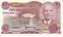 BILLETE DE MALAWI DE 1 KWACHA DEL AÑO 1986 (BANKNOTE) - Malawi