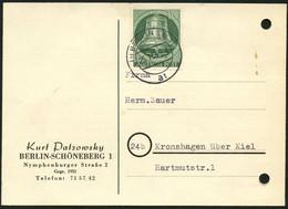 BERLIN 1954, Nr. 104, 10 PF. GLOCKE MITTE, PK, STPL BERLIN SW 22, KARTE MÄNGEL! - Unclassified