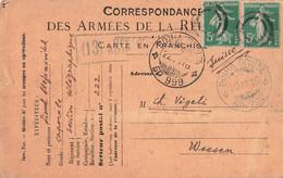 Semeuse Cachet Double Cercle Correspondance Militaire 1916 ВОІНА ПОШТА Voina Secteur Postal 222 - Oorlog 1914-18