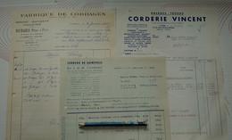 CANAL DIGOIN SAONE ET LOIRE 71 LOT FACTURE CORDAGES FICELLES 1962 CORDERIE BURARD CLAMECY VINCENT LYON GUINEFOLLE ANGERS - Transport